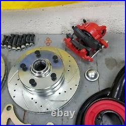 65-70 Chevy Full Size Big Brake + Control Arms Conversion Kit 5x4.75Red Caliper