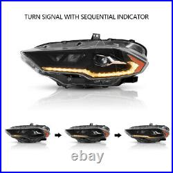 AMBER FULL LED Headlights Direct Replacement for 2018-2021 Ford Mustang Set