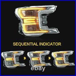 Chrome FULL LED Headlights with Sequential Turn Signal for 18-20 Ford F-150 XLT