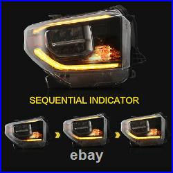 Customized ALL BLACK FULL LED Headlights with DRL for 2014-2020 Toyota Tundra