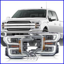 Customized Chrome FULL LED Headlights Sequential for 18-20 Ford F-150 Lariat