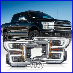 Customized Chrome FULL LED Headlights Sequential for 18-20 Ford F-150 Platinum