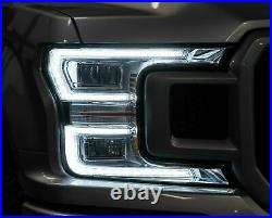 Customized Chrome FULL LED Headlights with Sequential Turn Signal for 18-20 F-150