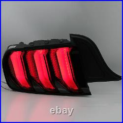 Customized RED FULL LED Taillights with Sequential Turn Sig. For 15-20 Mustang
