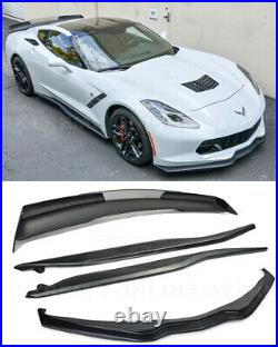 For 14-19 Corvette C7 Z06 Style Wickerbill Spoiler With Side Skirts With Front Lip