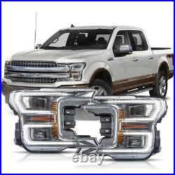 For 18-20 F150 Chrome Full LED Reflector Switchback DRL Bar Sequential Headlight