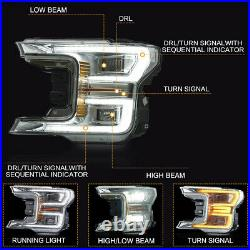 For 18-20 F150 Lariat Chrome Full LED Reflector Switchback Sequential Headlights