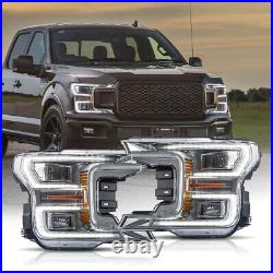 For 18-20 F150 XLT Chrome LED Reflector Switchback DRL Bar Sequential Headlight