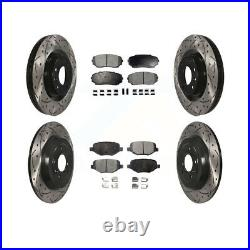 Front Rear Coated Drill Slot Disc Brake Rotors Ceramic Pad Ford Edge Lincoln MKX