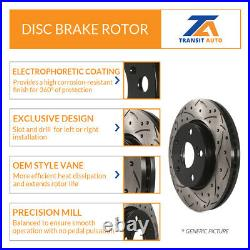 Front Rear Coated Drilled Slotted Disc Brake Rotor & Semi-Metallic Pad BMW X5 X6