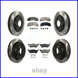 Front Rear Coated Drilled Slotted Disc Brake Rotors & Ceramic Pad Kit Ford F-150