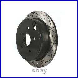 Front Rear Coated Drilled Slotted Disc Brake Rotors Kit For Subaru WRX